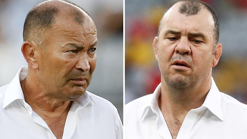 Eddie Jones and Michael Cheika, pictured here at the Rugby World Cup.