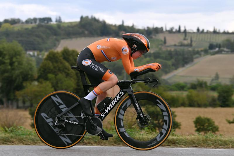IMOLA ITALY SEPTEMBER 24 Anna Van Der Breggen of The Netherlands during the 93rd UCI Road World Championships 2020 Women Elite Individual Time Trial a 317km stage from Imola to Imola ITT ImolaEr2020 Imola2020 on September 24 2020 in Imola Italy Photo by Tim de WaeleGetty Images