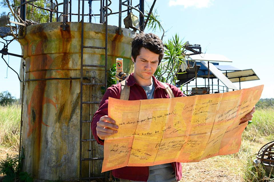 """""""Love and Monsters"""" stars Dylan O'Brien as a lonely guy who leaves his underground colony and braves a landscape full of giant monsters to track down his high school sweetheart."""