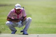 Alex Cejka, of Germany, lines up his putt on the sixth hole during the final round of the Regions Tradition Champions Tour golf tournament Sunday, May 9, 2021, in Hoover, Ala. (AP Photo/Butch Dill)