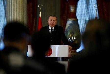 Turkish President Tayyip Erdogan speaks during a news conference in Istanbul