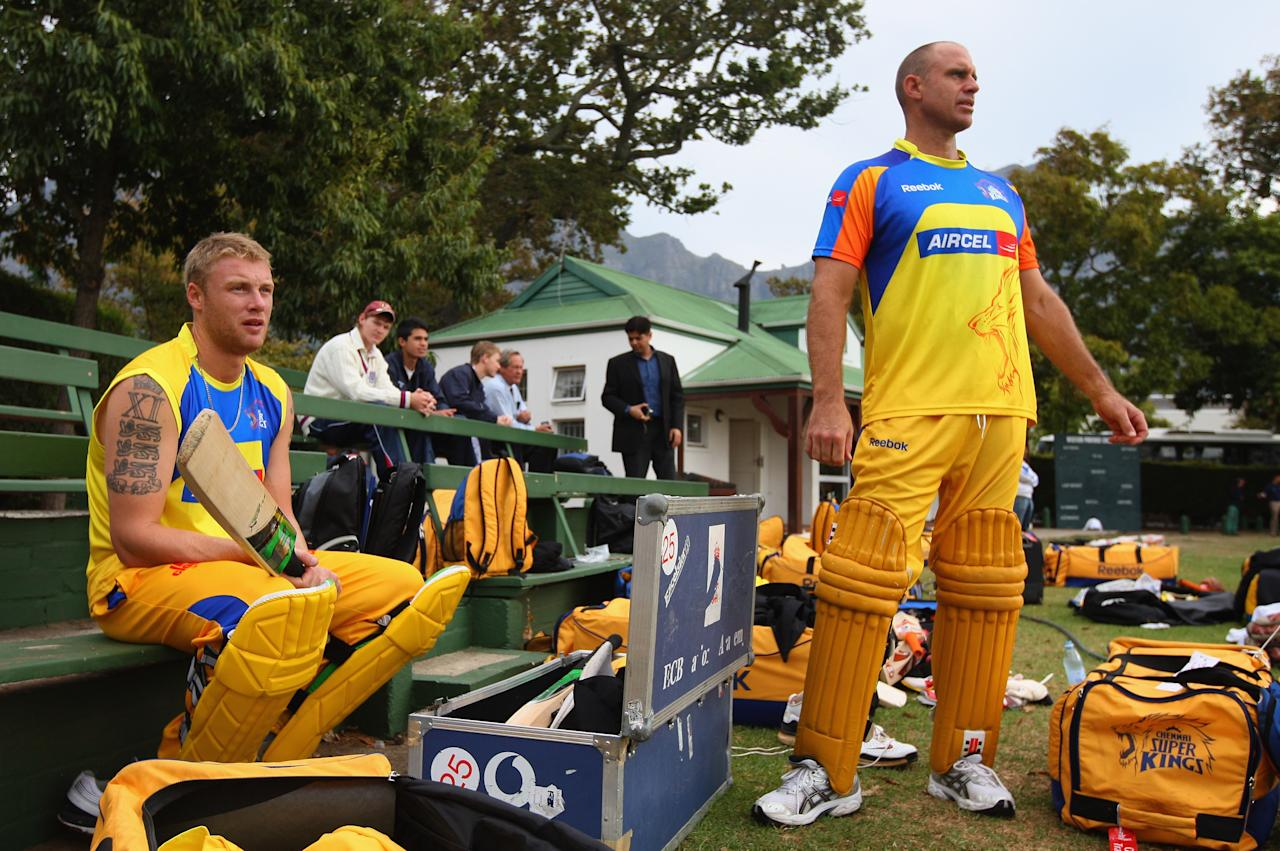 CAPE TOWN, SOUTH AFRICA - APRIL 16:  Andrew Flintoff and Matthew Hayden of Chennai Super Kings gets padded up during the Chennai Super Kings training session at the Vineyard Cricket Ground on April 16, 2009 in Cape Town, South Africa.  (Photo by Tom Shaw/Getty Images)