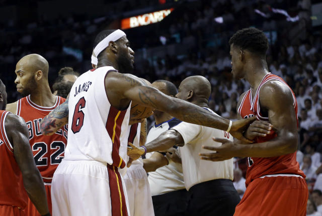 """<a class=""""link rapid-noclick-resp"""" href=""""/nba/players/4912/"""" data-ylk=""""slk:Jimmy Butler"""">Jimmy Butler</a> was coming off a heated playoff battle against <a class=""""link rapid-noclick-resp"""" href=""""/nba/players/3704/"""" data-ylk=""""slk:LeBron James"""">LeBron James</a> and the <a class=""""link rapid-noclick-resp"""" href=""""/nba/teams/mia"""" data-ylk=""""slk:Miami Heat"""">Miami Heat</a> in 2013. (AP)"""