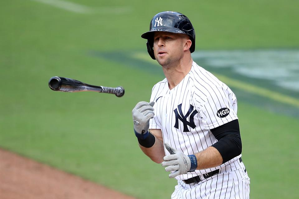 SAN DIEGO, CALIFORNIA - OCTOBER 08:  Brett Gardner #11 of the New York Yankees reacts after drawing a walk against the Tampa Bay Rays during the second inning in Game Four of the American League Division Series at PETCO Park on October 08, 2020 in San Diego, California. (Photo by Sean M. Haffey/Getty Images)