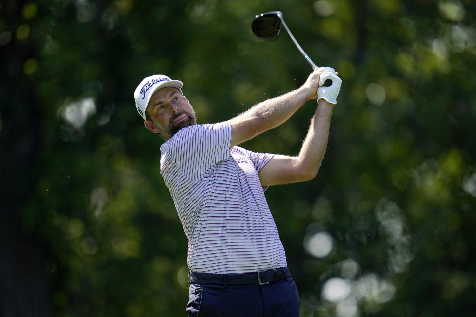 Webb Simpson tees off on the fifth hole during the first round of the BMW Championship golf tournament, Thursday, Aug. 26, 2021, at Caves Valley Golf Club in Owings Mills, Md. (AP Photo/Julio Cortez)