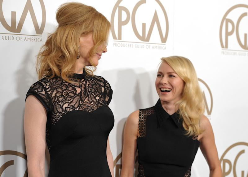 Nicole Kidman, left, and Naomi Watts arrive at the 24th Annual Producers Guild Awards at the Beverly Hilton Hotel on Saturday Jan. 26, 2013, in Beverly Hills, Calif. (Photo by John Shearer/Invision/AP Images)