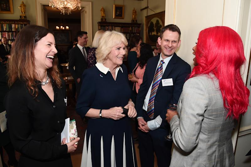 LONDON, ENGLAND - FEBRUARY 12: Camilla, Duchess of Cornwall meets CEO of SafeLives Suzanne Jacob (L), Duncan Shrubsole and Jennifer Steele during a reception to acknowledge the 15th anniversary of domestic abuse charity SafeLives at Clarence House on February 12, 2020 in London, England. (Photo by Eamonn M. McCormack/Getty Images)