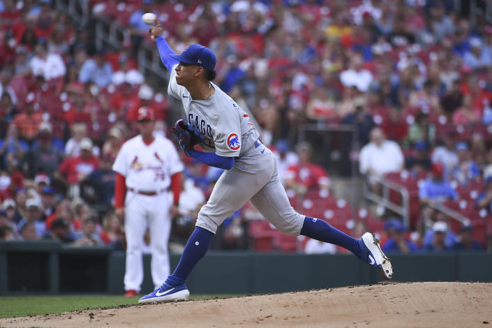 Chicago Cubs starting pitcher Adbert Alzolay throws during the first inning of the team's baseball game against the St. Louis Cardinals on Thursday, July 22, 2021, in St. Louis. (AP Photo/Joe Puetz)