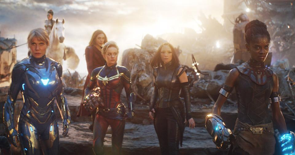 Gwyneth Paltrow, Tessa Thompson, Elizabeth Olsen, Brie Larson, Pom Klementieff and Letitia Wright in 'Avengers Endgame' (Photo: Marvel Studios/Courtesy Everett Collection)