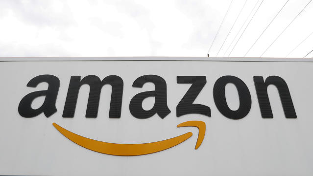 An Amazon logo seen on a fulfillment center in Michigan. (AP Photo/Paul Sancya)