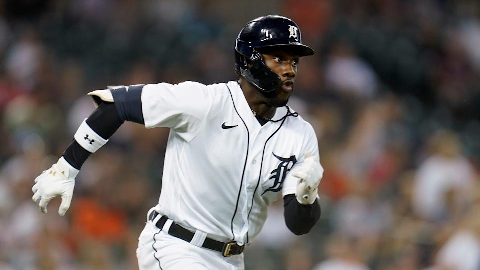 Tigers left fielder Akil Baddoo runs out a one-run double against the Red Sox in the fifth inning on Tuesday, Aug. 3, 2021, at Comerica Park.