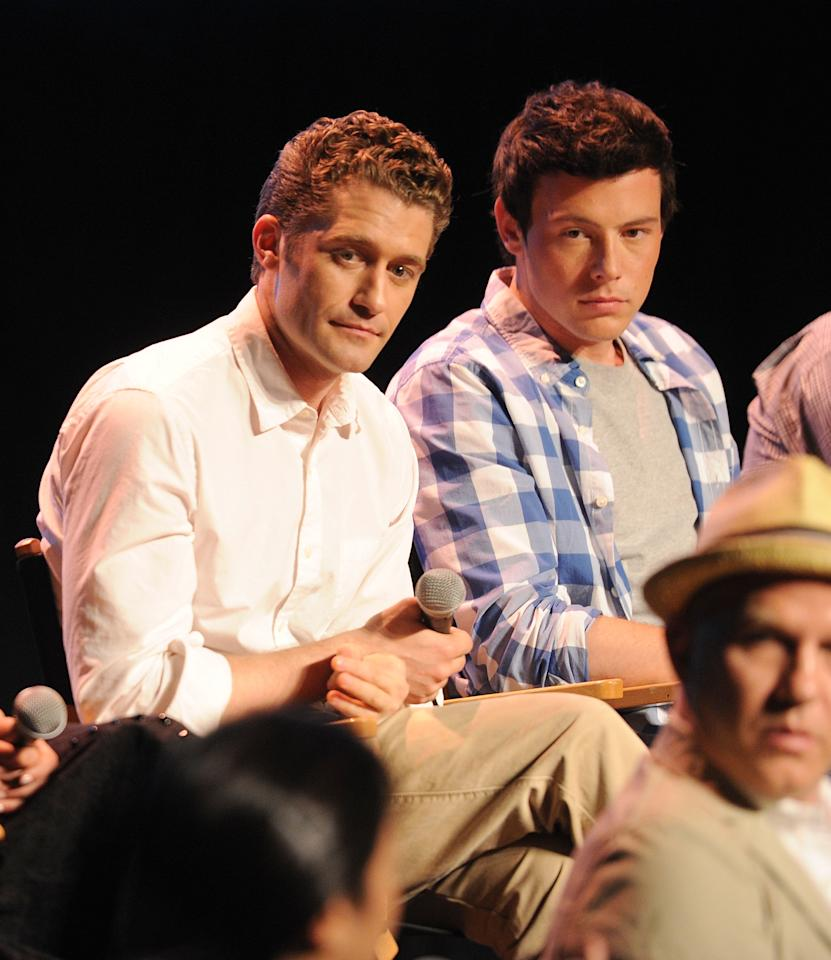 """HOLLYWOOD, CA - MAY 04:  Singers Matthew Morrison and Cory Monteith attend the """"Glee"""" Academy Screening and Q&A on May 4, 2011 in Hollywood, California.  (Photo by Jason Merritt/Getty Images)"""