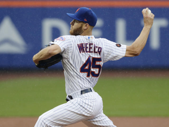 New York Mets' Zack Wheeler (45) delivers a pitch during the first inning of a baseball game against the Toronto Blue Jays, Wednesday, May 16, 2018, in New York. (AP Photo/Frank Franklin II)