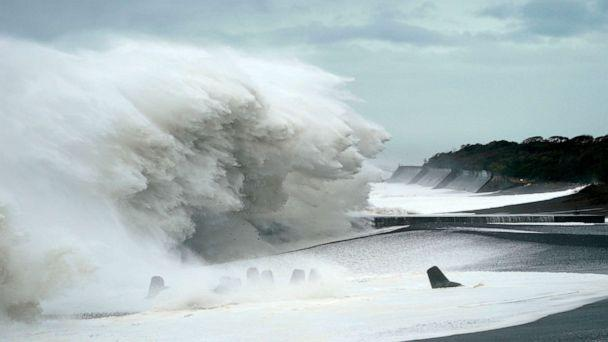 PHOTO: Surging waves generated by typhoon Hagibis hit the seashore in Mihama, Mie Prefecture, Japan, Oct. 12, 2019. (Franck Robichon/EPA via Shutterstock)