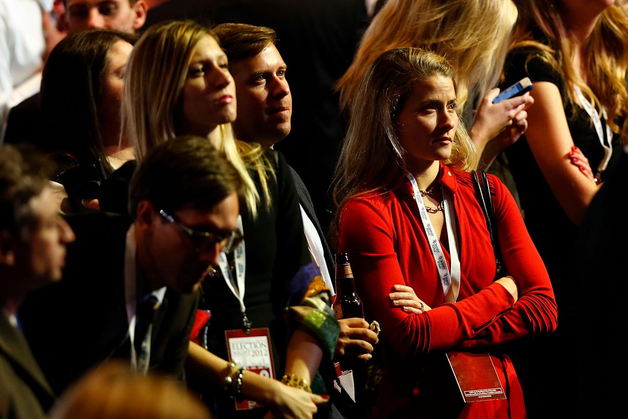 BOSTON, MA - NOVEMBER 06: Spectators watch the election results shown on a television during Mitt Romney's campaign election night event at the Boston Convention & Exhibition Center on November 6, 2012 in Boston, Massachusetts. Voters went to polls in the heavily contested presidential race between incumbent U.S. President Barack Obama and Republican challenger Mitt Romney.  (Photo by Matthew Cavanaugh/Getty Images)