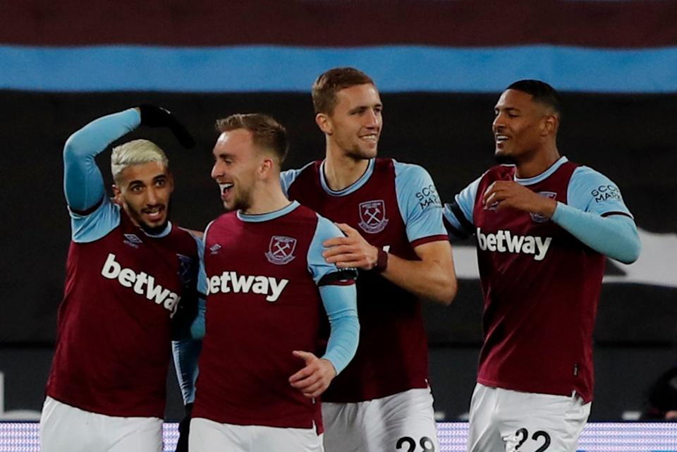 <p>Record signing Sebastien Haller (R) looks like a different player for West Ham now</p>Getty Images