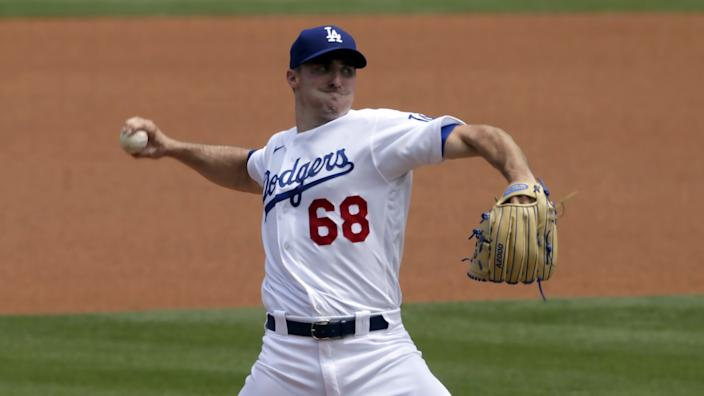 Ross Stripling throws for the Dodgers during a game against the Colorado Rockies on Aug. 23.