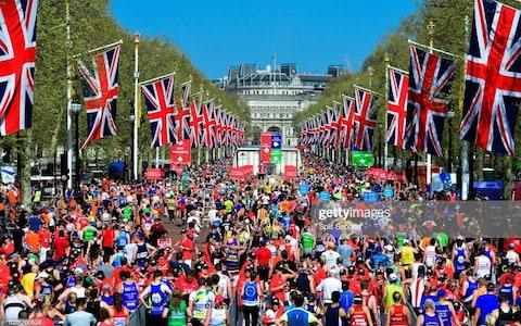The startline of the 2019 London Martathon, just after the gun has fired. - Credit: Getty Images