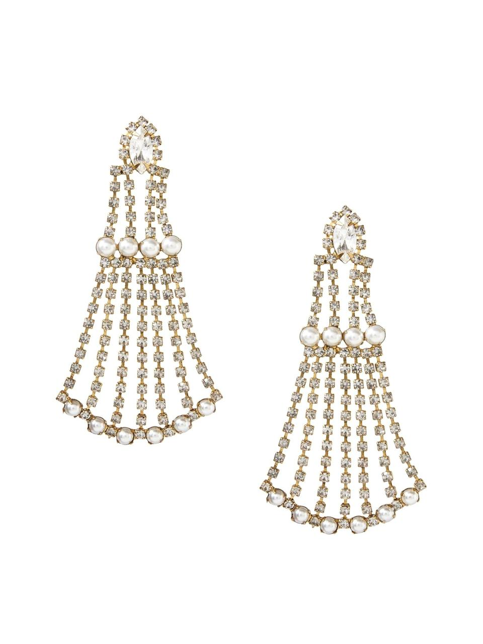<p>Chandelier earrings are back and we love the art deco inspired look of these <span>Banana Republic Elizabeth Cole Peggy Earrings</span> ($120).</p>