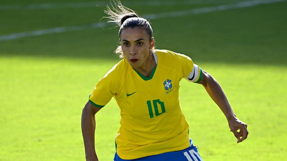 Brazil midfielder Marta (10) follows a play during the first half of a SheBelieves Cup women's soccer match against the United States, Sunday, Feb. 21, 2021, in Orlando, Fla. (AP Photo/Phelan M. Ebenhack)