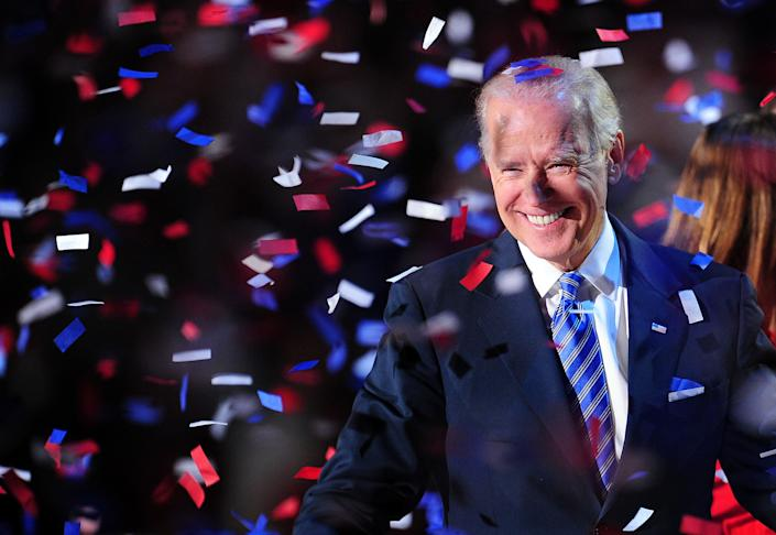 US Vice President Joe Biden celebrates on election night November 7, 2012 in Chicago, Illinois. Republican Presidential candidate Mitt Romney has conceded the race to US President Barack Obama.    AFP PHOTO / Robyn Beck        (Photo credit should read ROBYN BECK/AFP/Getty Images)