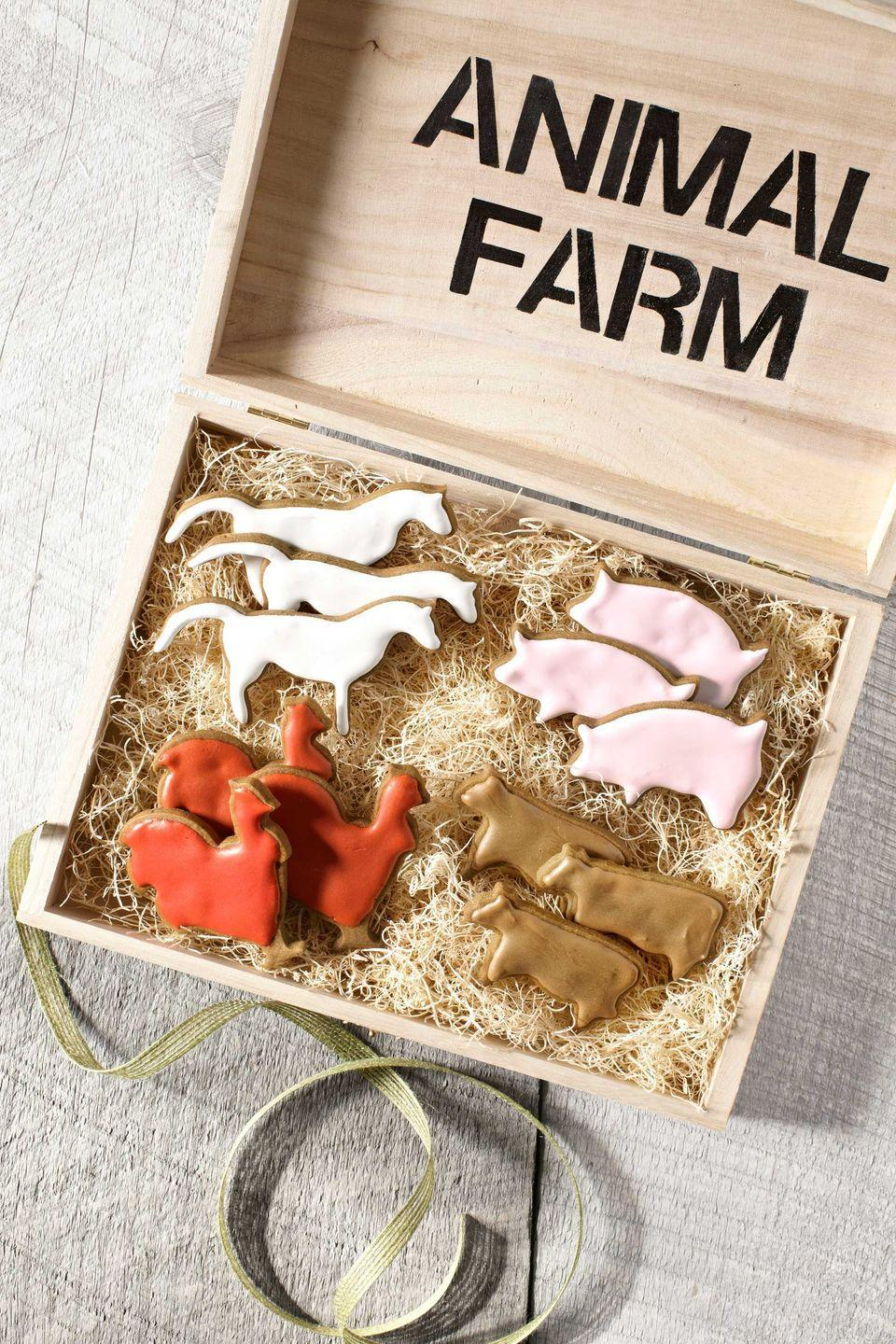 """<p>Traditional gingerbread takes a walk on the wild side, via critter cookie cutters. Corral the whole stable in a hand-stenciled box filled with """"hay.""""</p><p><strong><a href=""""https://www.countryliving.com/food-drinks/recipes/a4231/gingerbread-animals-recipe-clv1212/"""" rel=""""nofollow noopener"""" target=""""_blank"""" data-ylk=""""slk:Get the recipe"""" class=""""link rapid-noclick-resp"""">Get the recipe</a>.</strong></p><p><a class=""""link rapid-noclick-resp"""" href=""""https://www.amazon.com/Forest-Critters-Cookie-Cutter-Set/dp/B07D3HV3VP/?tag=syn-yahoo-20&ascsubtag=%5Bartid%7C10050.g.647%5Bsrc%7Cyahoo-us"""" rel=""""nofollow noopener"""" target=""""_blank"""" data-ylk=""""slk:SHOP FARM ANIMAL COOKIE CUTTERS"""">SHOP FARM ANIMAL COOKIE CUTTERS</a></p>"""