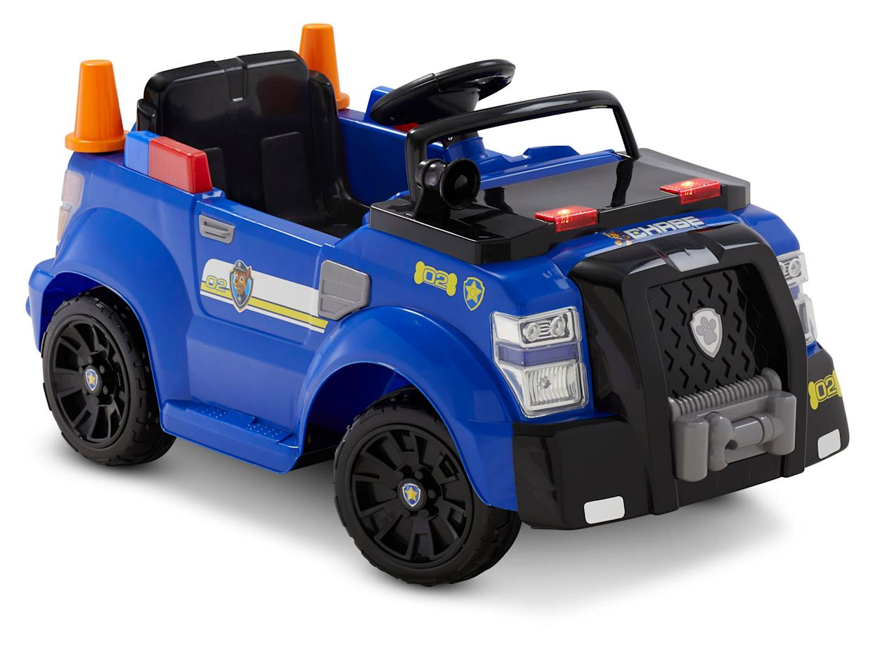 "If danger is near, just give a yelp! The PAW Patrol is here to help! Countless puppy pal driveway adventures await with the Nickelodeon's PAW Patrol: Chase Police Cruiser, 6-Volt Ride-On Toy by Kid Trax. Your little super-fan will love Chase-ing down evildoers with everyone's favorite police dog along for the ride. This kid-sized cruiser features working headlights, a handheld PA, and two mini traffic cones. <strong><a href=""https://fave.co/2HKjFkb"" rel=""nofollow noopener"" target=""_blank"" data-ylk=""slk:Find it for $150 at Walmart"" class=""link rapid-noclick-resp"">Find it for $150 at Walmart </a></strong>."