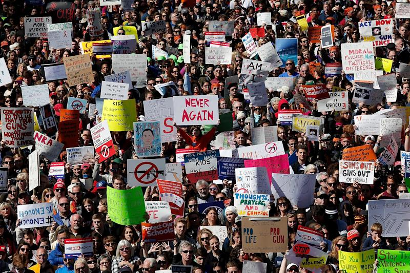 Hundreds of thousands of gun reform advocates attended the March for Our Lives rally on 24 March 2018 but a new study suggests gun owners are more politically active: Win McNamee/Getty Images