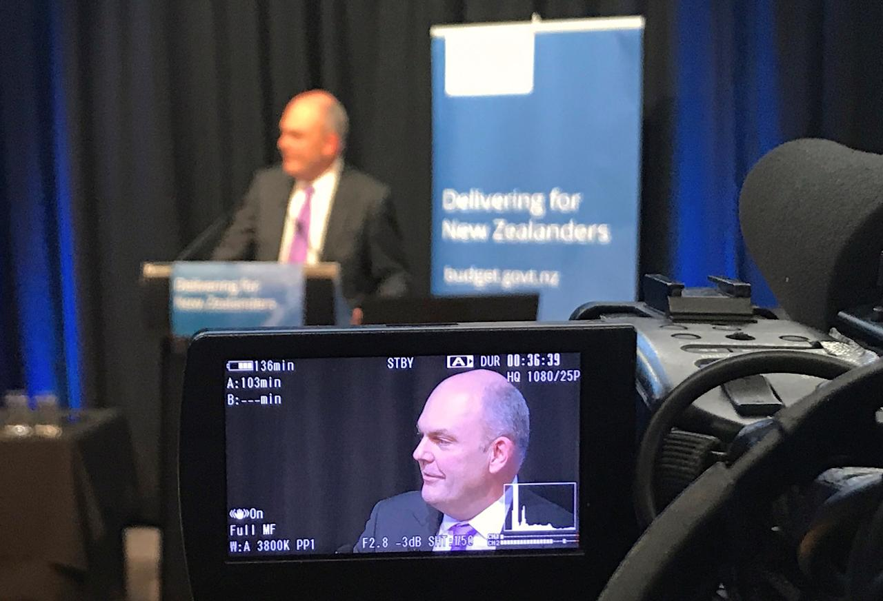 New Zealand Finance Minister Steven Joyce announces the government's budget for 2017 during a function in Wellington, New Zealand, May 25, 2017.  REUTERS/Lincoln Feast