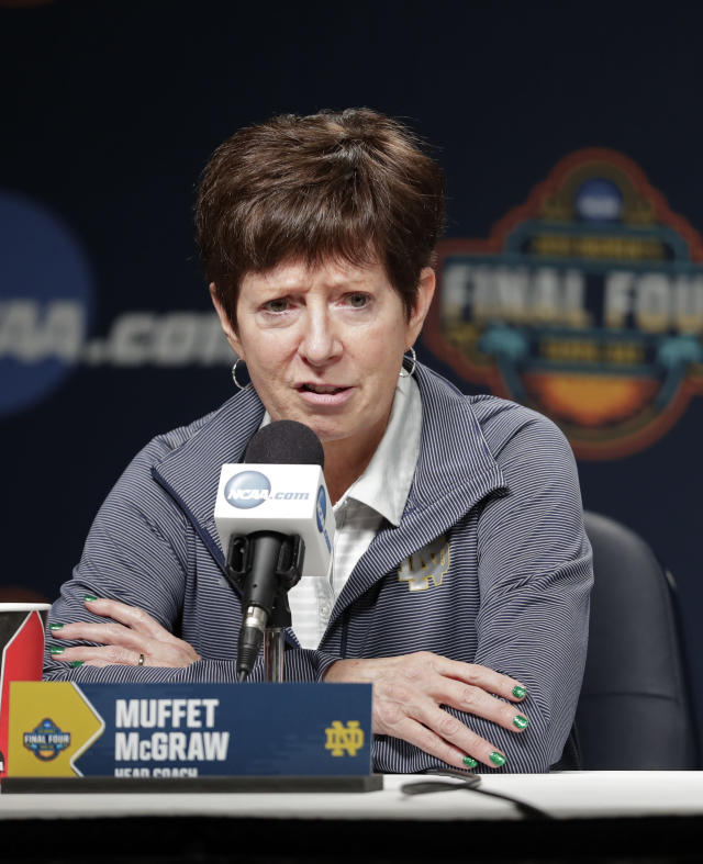 Notre Dame head coach Muffet McGraw answers questions during a news conference at the women's Final Four NCAA college basketball tournament Saturday, April 6, 2019, in Tampa, Fla. Notre Dame will play Baylor on Sunday for the national championship. (AP Photo/John Raoux)