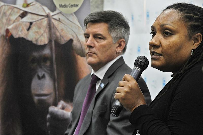 Helga Rainer (right), conservation director of the Great Apes programme at the Arcus Foundation, takes part in a press conference in Nairobi on June 25, 2014 (AFP Photo/Tony Karumba)