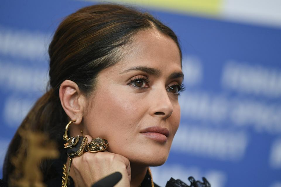 Salma Hayek, 54, posted a throwback photo of herself while extremely pregnant with daughter Valentina Paloma Pinault. (Photo: Jens Kalaene/picture alliance via Getty Images)
