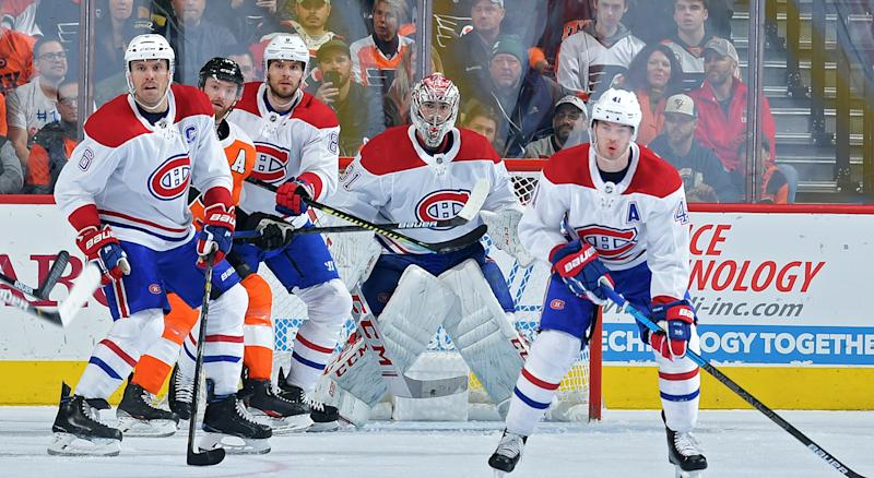 PHILADELPHIA, PA - NOVEMBER 07: Shea Weber #6, Ben Chiarot #8, Carey Price #31 and Paul Byron #41 of the Montreal Canadiens keep their eyes on the puck along with Sean Couturier #14 of the Philadelphia Flyers during the second period at Wells Fargo Center on November 7, 2019 in Philadelphia, Pennsylvania. (Photo by Drew Hallowell/Getty Images)
