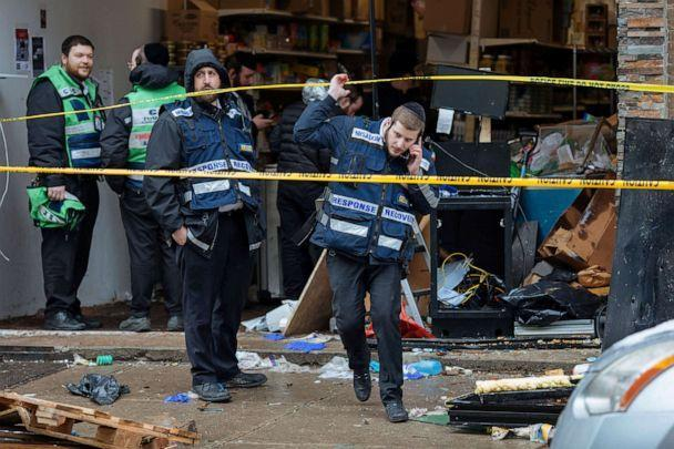 PHOTO: Responders work to clean up the scene of a shooting that left multiple dead at a kosher market on Dec. 11, 2019, in Jersey City, N.J. (Kevin Hagen/AP)