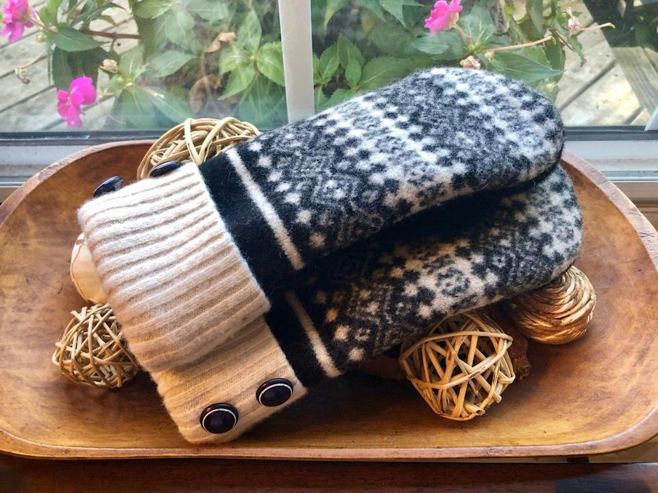 <p>You can pair these <span>Upcycled Cashmere and Wool Mittens</span> ($54) with just about any winter outfit.</p>