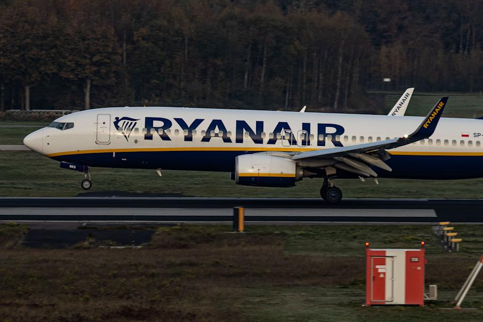 Ryanair said it is cancelling all flights to Denmark due to the government's new travel restrictions. Photo by Nicolas Economou/NurPhoto via Getty Images