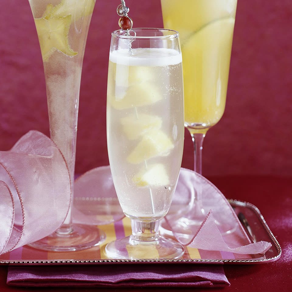 "<p>Crystallized ginger--also called candied ginger--is the key ingredient in this fruit-flavored drink. By soaking it with pineapple juice for at least two hours, it gives this spritzer an added zing. <a href=""http://www.eatingwell.com/recipe/268270/ginger-pineapple-spritzer/"" rel=""nofollow noopener"" target=""_blank"" data-ylk=""slk:View recipe"" class=""link rapid-noclick-resp""> View recipe </a></p>"