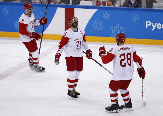 Russian athlete Ilya Kovalchuk (71) reacts after scoring a goal against the Czech Republic during the third period of the semifinal round of the men's hockey game at the 2018 Winter Olympics in Gangneung, South Korea, Friday, Feb. 23, 2018. Olympic Athletes from Russia won 3-0. (AP Photo/Patrick Semansky)