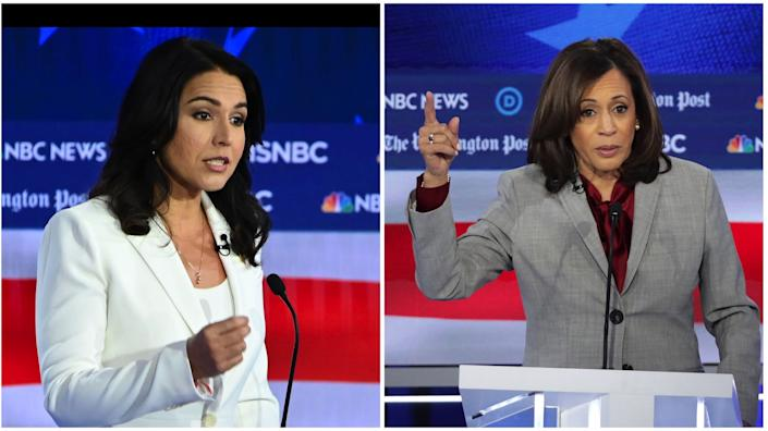 "Rep. Tulsi Gabbard of Hawaii, left, and California Sen. Kamala Harris sparred during a Democratic presidential debate in November. <span class=""copyright"">(Getty Images)</span>"