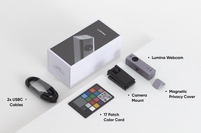 Graphic breaks down all the components that go into the Lumina 4K webcam.