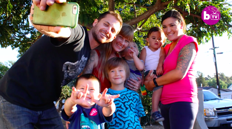 The throuple has four sons, and Lauren is expecting their fifth. Source: Barcroft TV