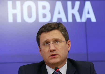 Russian Energy Minister Alexander Novak attends a news conference in Moscow