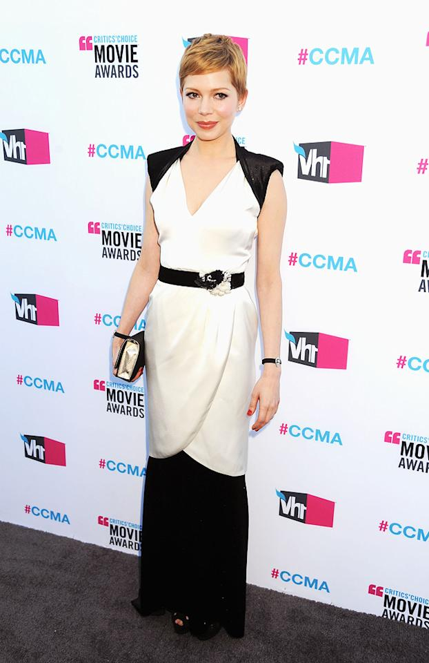 """<a href=""""http://movies.yahoo.com/movie/contributor/1800018861"""">Michelle Williams</a> at the 17th Annual Critics' Choice Awards in Hollywood on January 12, 2012."""