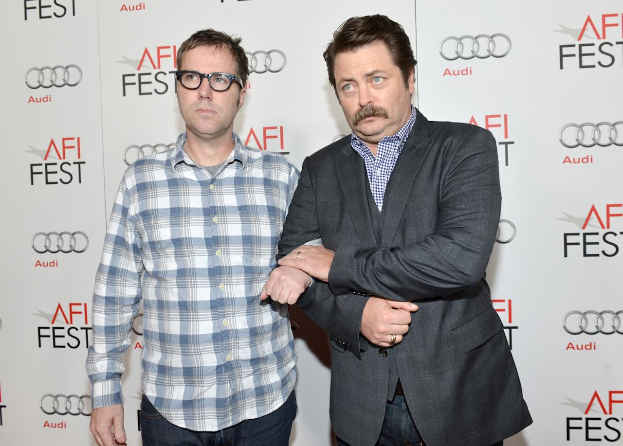 """HOLLYWOOD, CA - NOVEMBER 03:  Director Bob Byington (L) and actor Nick Offerman arrive at the gala screening of """"Somebody Up There Likes Me"""" during the 2012 AFI Fest presented by Audi at Grauman's Chinese Theatre on November 3, 2012 in Hollywood, California.  (Photo by Alberto E. Rodriguez/Getty Images for AFI)"""