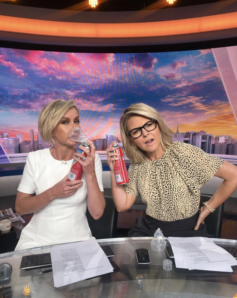 Deb and Georgie hammed it up on the Today set. Photo: Instagram/georgiegardner9.