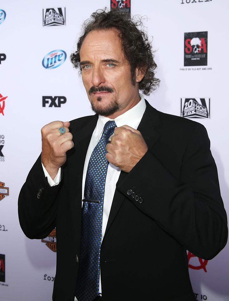 "HOLLYWOOD, CA - SEPTEMBER 07: Actor Kim Coates attends the Premiere of FX's ""Sons of Anarchy"" Season 6 at the Dolby Theatre on September 7, 2013 in Hollywood, California. (Photo by Frederick M. Brown/Getty Images)"