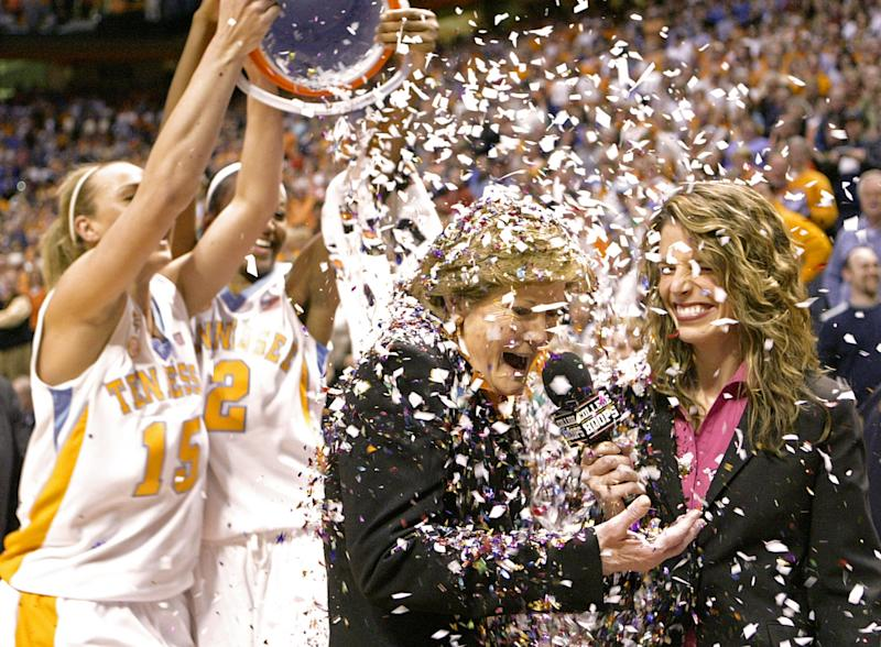 "FILE - In this Feb. 5, 2009, file photo, Tennessee coach Pat Summitt has confetti dumped on her by players Alicia Manning (15) and Alex Fuller (2) after the Lady Vols defeated Georgia 73-43 an NCAA college basketball game in Knoxville, Tenn., earning Summitt her 1,000th career coaching victory. Summitt, the sport's winningest coach, is stepping aside as Tennessee's women's basketball coach and taking the title of ""head coach emeritus"", the university announced Wednesday, April 18, 2012. Long-time assistant Holly Warlick has been named as Summitt's successor. (AP Photo/Wade Payne, File)"