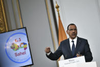 Niger's President Mohamed Bazoum delivers a speech after a video summit with leaders of G5 Sahel countries at the Elysee presidential Palace in Paris, Friday July 9, 2021. French President Emmanuel Macron said Friday his country will withdraw more than 2,000 troops from an anti-extremism force in Africa's Sahel region starting in the coming months. Macron announced last month a future reduction of France's military presence, arguing that the current operation is no longer adapted to the need. (Stephane de Sakutin, Pool photo via AP)