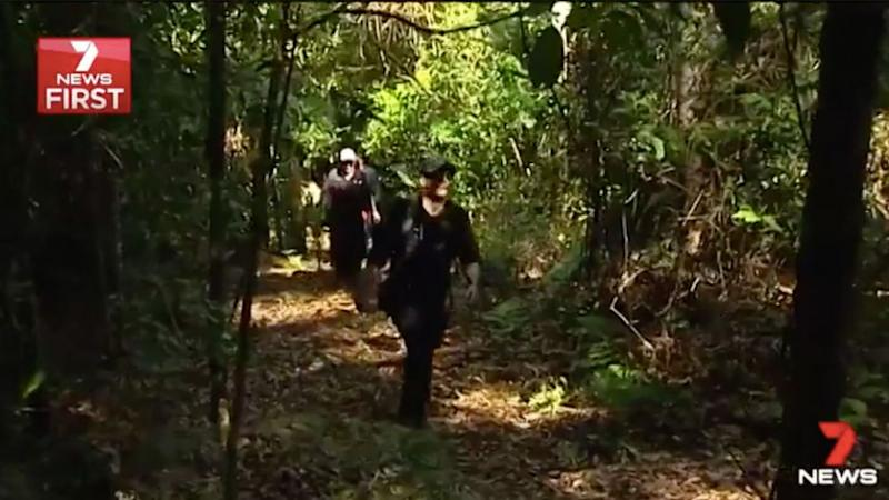 The area is one of thick, dense bushland. Source: 7 News