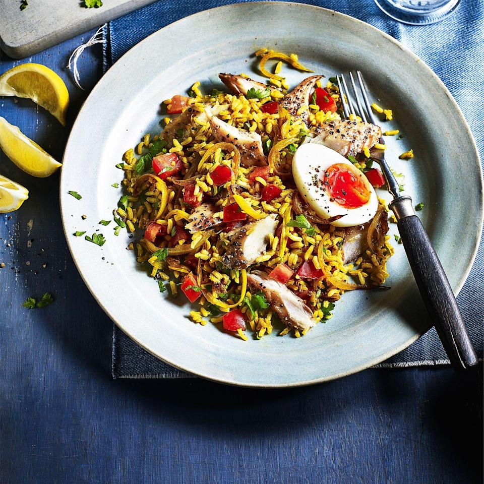 """<p>Rich in omega 3s and high in fibre, thanks to oily fish and brown rice, this flavour-packed supper will keep you fuller for longer, and it's gluten free, too. Using ready cooked rice makes it speedy. </p><p><a class=""""link rapid-noclick-resp"""" href=""""https://www.redonline.co.uk/food/recipes/a35191432/smoked-mackerel-kedgeree-recipe/"""" rel=""""nofollow noopener"""" target=""""_blank"""" data-ylk=""""slk:SMOKED MACKEREL KEDGEREE RECIPE"""">SMOKED MACKEREL KEDGEREE RECIPE</a></p>"""